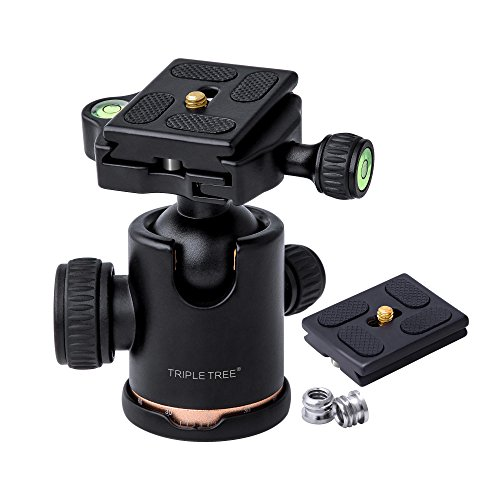 "TRIPLE TREE tripod Ball Head,360 Degrees Rotation for Canon Sony Nikon DSLR Cameras, Tripod and Monopod, Maximum Load 17.6 Lbs, Two 1/4"" to 3/8"" Screw Adapters and 1 Extra Quick Release Plate Included"