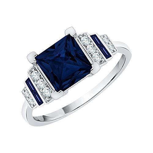 KATARINA Anillo de compromiso con diamantes y zafiro azul engastados en plata de ley (1 1/2 quilates, I-J, I1), Metal Gema, diamante zafiro,