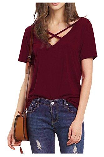 Odosalii Damen V-Ausschnitt T-Shirt Kurzarm Tunika Tops mit Schnürung Vorne Oberteil Bluse Sommer, Weinrot, M