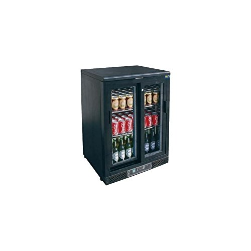 Arrière bar réfrigéré noir avec portes vitrées coulissantes - 1 porte