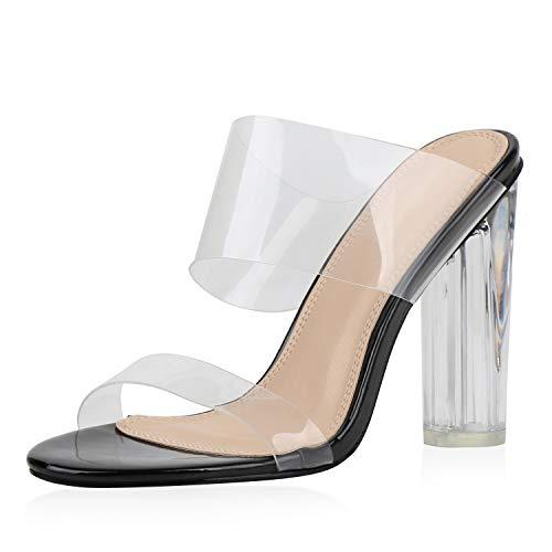 SCARPE VITA Damen Sandaletten High Heels Transparente Party Schuhe Pantoletten Lack Sommer Absatzschuhe 187104 Schwarz 39