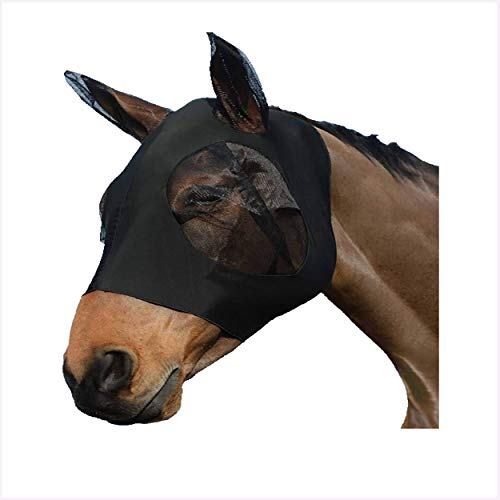 Pferdemaske aus Lycra Horse Fly, mit Gehörschutz, Mesh für Pferdeaugen/Käfer/Pferdepony aus Mesh (Pferde/L, Schwarz)