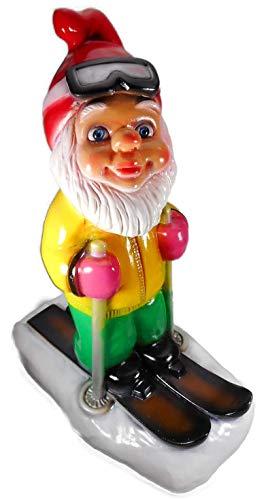 Gartenzwerg fährt Ski 37 x 17 x 28 cm, 910 Gramm Weihnachten bruchfest Fensterdeko PVC Deko GRS 1105
