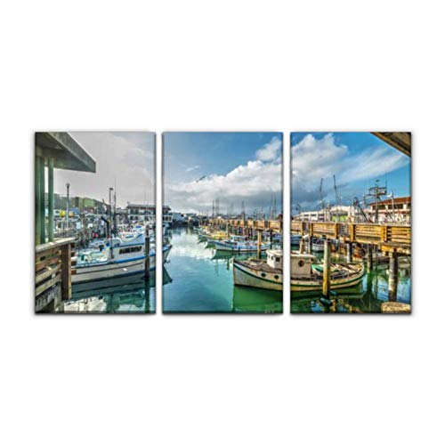 Gracelapin Modern Canvas Painting Boats in Fisherman's Wharf in san Francisco Fishing Port Stock Wall Art Artwork Decor Printed Oil Painting Landscape Home Office Bedroom Framed Decor (16'x24'x3pcs)