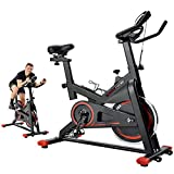 Tricodale Indoor Cycling Bike, Spin Bike, Exercise Bike with Adjustable Resistance & Comfortable Seat Cushion & Multi-grips Handlebar, Silent Belt Drive Stationary Bike for Cardio Workout