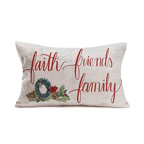 Doitely Christmas Wreath Gift Faith Friends Family Letters Cotton Linen Throw Pillow Covers Vintage Pillow Case Cushion Cover Sofa Decorative Rectangle 12x20 Inches