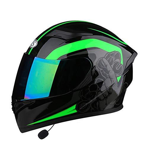 Bradoner Klapphelm, Motorradhelm, vier Jahreszeiten, Bluetooth-Headset, Integralhelm, bunte Gläser, Doppelgläser, atmungsaktiv, Eckreithelm (Farbe: keine Ecke, Größe: XXXL)