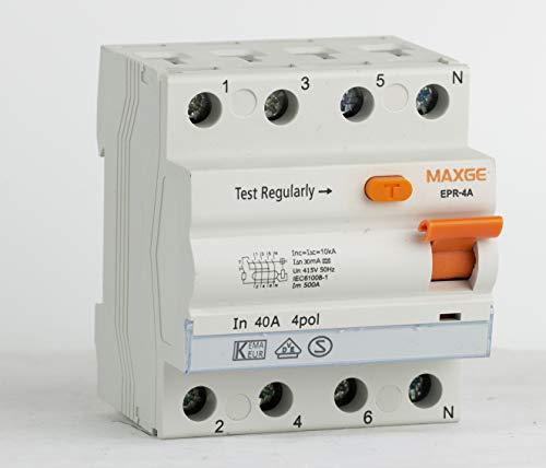 FI-Schutzschalter 4-Polig 40A Typ A 30 mA, Fehlerstrom-Schutzschalter
