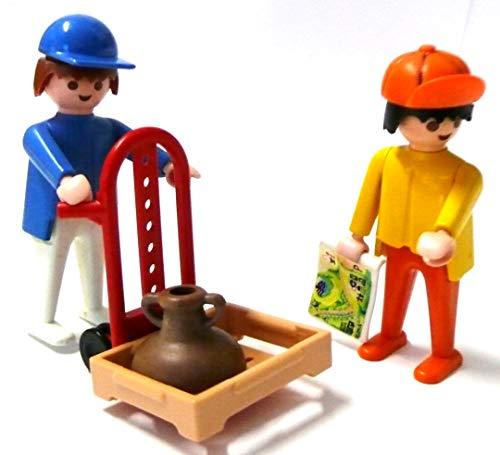 playmobil ® 2 Arbeiter mit Sackkarre Kiste und Krug