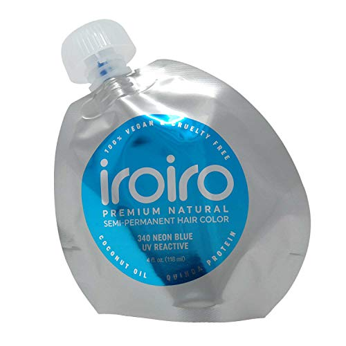 IROIRO Premium Natural Semi-Permanent Hair Color 340 Neon Blue (4oz)
