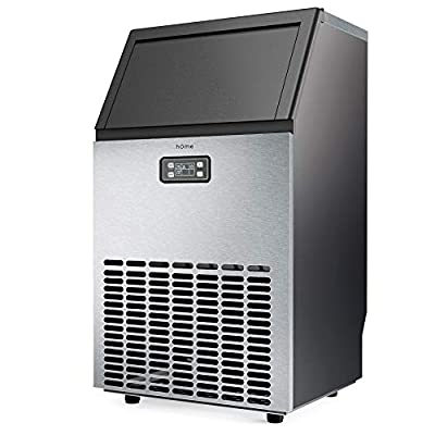 hOmeLabs Freestanding Commercial Ice Maker Machine - Makes 143 Pounds Ice in 24 hrs with 29 Pounds Storage Capacity - Ideal for Restaurants Bars, Homes and Offices - Includes Scoop and Connection Hose