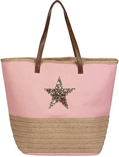 styleBREAKER Strandtasche mit Pailetten Stern und Bast, Schultertasche, Shopper, Badetasche, Damen 02012058, Farbe:Rosa