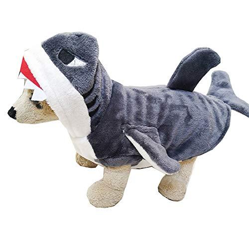 HONGBI Ropa de Mascota Perros Disfraces de Sudadera Dibujos Animados Tiburón con Capucha Abrigo para Perros Gato Ropa de Capucha Abrigo Gris XS