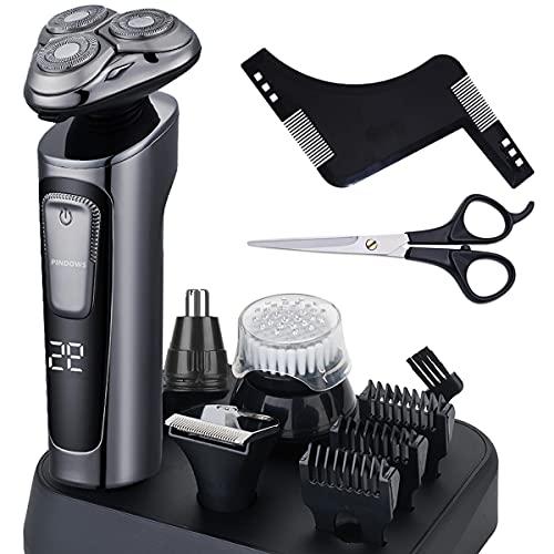 Afeitadora Barba Hombre,4D Afeitadora Eléctrica Rotativa Recortadora de Barba Recortador de Nariz Cepillo de limpieza Facial,Impermeable Húmedo & Seco USB Recargable Pantalla LED Afeitadora 4 en 1