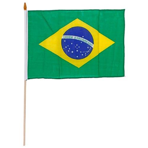 IDM Stockfahne, Fahne, Flag, Flagge, 30 x 45 cm Brasilien, Brasil, Brazil, im 5er Set