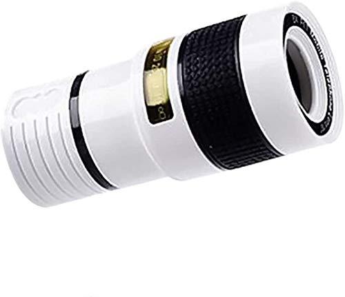 GANE Telescopio Universal 12X HD Cámara de teléfono con Zoom Lente telefoto Externo con Clip para iPhone X 8 7 6 6s Android, Blanco