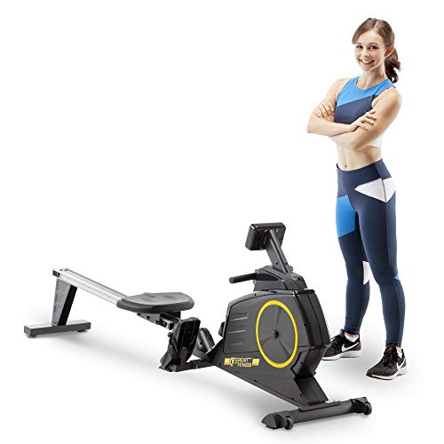 CIRCUIT FITNESS Circuit Fitness Deluxe Foldable Magnetic Rowing Machine with 8 Resistance Settings & Transport Wheels AMZ-986RW