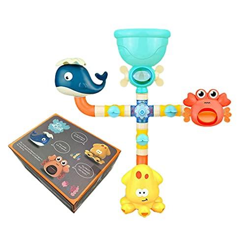 Juego de grifo de ducha de goma con rueda hidráulica barbotante para niños animales cuarto de baño juguetes de verano