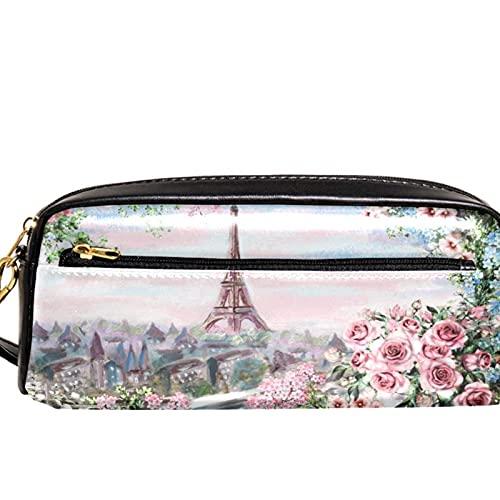 Estuche organizador de lápices con diseño de flores de la Torre Eiffel de París para la escuela, adolescentes, niños, niñas, hombres y mujeres