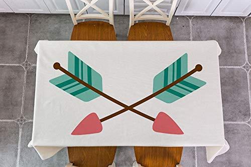 XXDD Mantel de decoración de Flecha de Plumas de Animales de Dibujos Animados Mantel de decoración Impermeable Mantel de Mesa de té A10 135x160cm