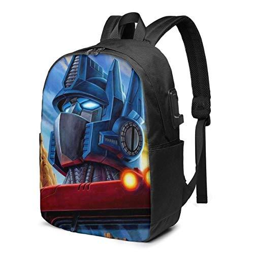 zhengdong Optimus Prime Bumblebee Mochila USB 17 en mochila unisex para portátil Travel, duradera, impermeable, con puerto de carga USB para Sch