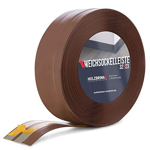 HOLZBRINK Rodapiés flexible autoadhesivo Chocolate Rodapiés flexible 32x23 mm, 5 m Zócalo...
