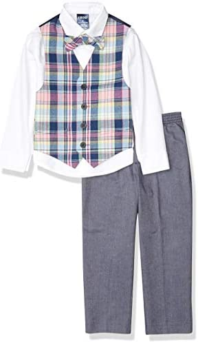 IZOD Boys Little 4 Piece Set with Dress Shirt Bow Tie Pants and Vest Plaid Pink product image