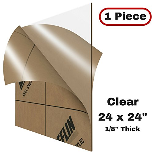 "MIFFLIN Cast Plexiglass Sheet (Transparent Clear, 1 Piece, 24x24 Inch, 0.118"" (1/8 in) Thick), Acrylic Sheet, Plexi Glass, Plastic Sheet, Clear Plastic Sheet, Cast Acrylic Square Plexiglass"