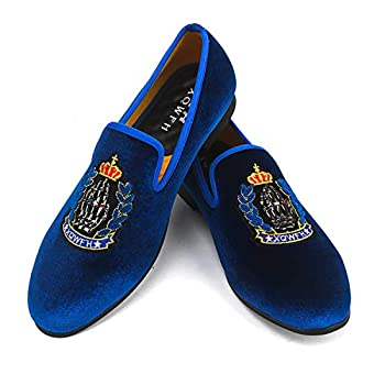 XQWFH Mens Crown Pattern Loafers Velvet Dress Shoes Slip on Embroidery Smoking Slipper Luxury Party Prom Flats
