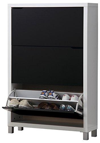 Kit Closet Kubox - Zapatero, 3 Puertas, Color Blanco y Negro