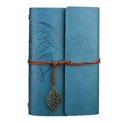 Viccoo - Diario di scrittura in pelle, da viaggio, ricaricabile, motivo: lago blu - S