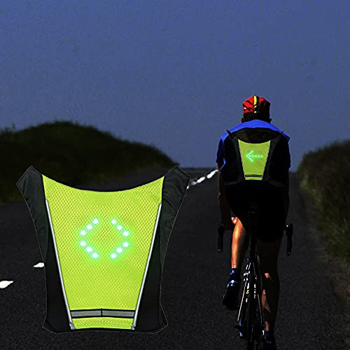 LED Turn Signal Safety Vest with Direction Indicator, USB Charging & Adjustable Bike Pack Accessory Guiding Light for Night Running Walking Cycling Gear - LED Glowing Reflective Backpack