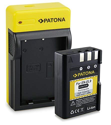 PATONA Bateria EN-EL9 con Estrecho Cargador Compatible con Nikon D5000, D3000, D60, D40