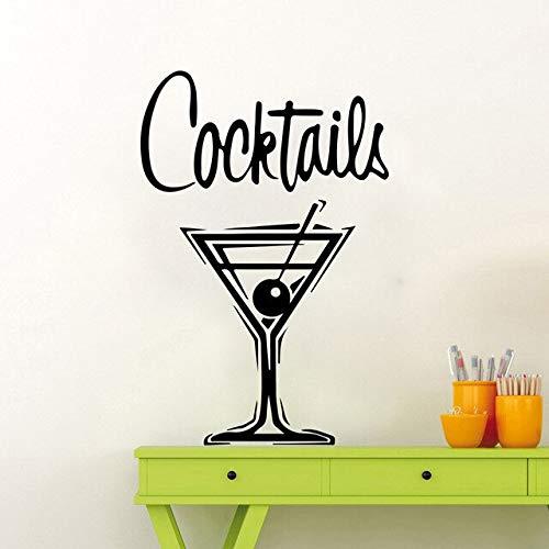 Retro cocktail glazen muursticker keuken bar drinken jenever logo wanddecoratie restaurant vinyl wooncultuur 38X57CM zwart