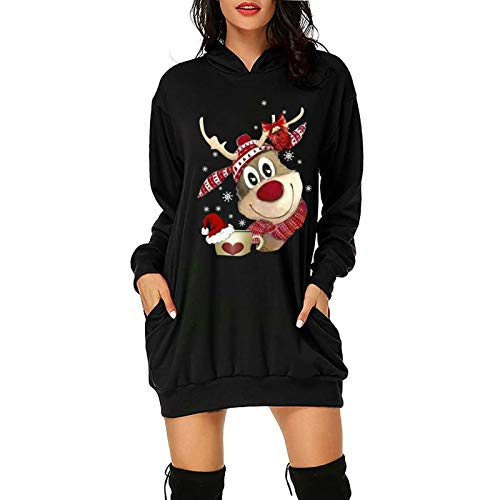 PcLeam Damen Weihnachtskleid Party Kleider Weihnachts KostüM Cartoon Drucken Oberteil Langarmshirt LäSsig Sweatshirt FrüHling Herbst Winter Shirts Festliche Geschenk(A03-Schwarz,L)