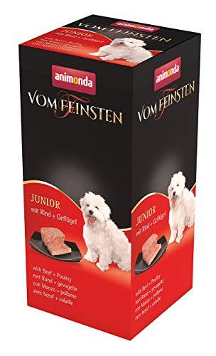 animonda Vom Feinsten Hundefutter Junior, Nassfutter für Hunde im Wachstum, Rind + Geflügel, 6 x 150 g