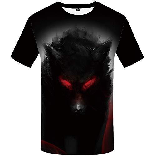 KYKU Camiseta masculina de lobo sombreada vermelha Eye Warrior, Shadow Wolf, XX-Large