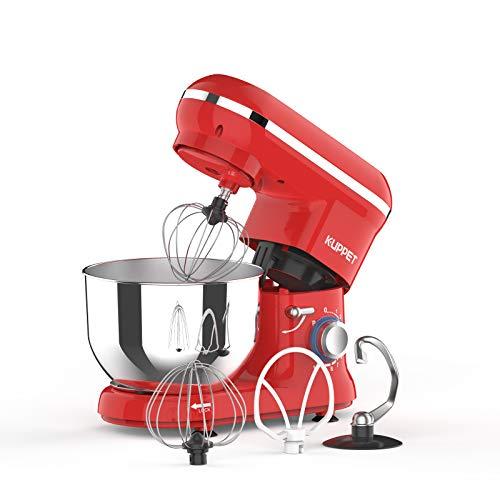 KUPPET Küchenmaschine, 4.5L Weniges Geräusch Knetmaschine with Edelstahl Rührschüssel, Knethaken, Rührbesen, Schlagbesen und Spritzschutz, LED-Licht(Rot)