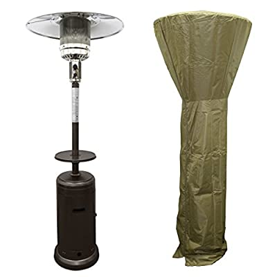 PrimeGlo HLDS01-CG-A Tall Patio Propane Heater w/Wheels, Table and Cover, 87 Inches, Bronze Bundle
