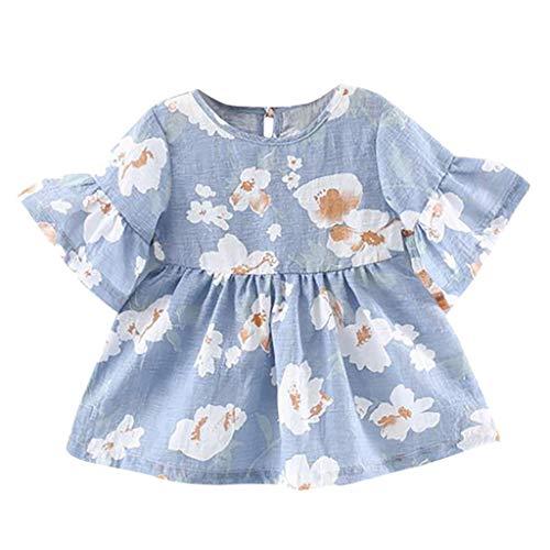 Bluestercool Enfant Filles Floral Impression Manches Volantes Dos Nu Robe de Princesse Jupe Bébé Fille Ensembles Robe Vêtements Été Mignonne Costume 3-24 Mois