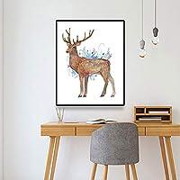 キャンバスペインティング ウォールアートモダンプリントエルクアニマルキャンバス絵画ポスターと壁のリビングルームの装飾写真のためのプリントウォールアートの写真 50x75cm
