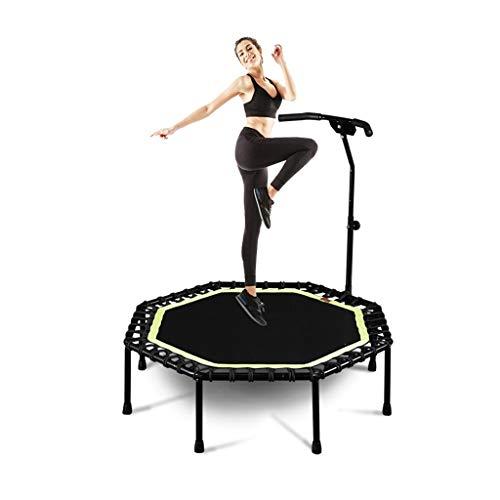 Xiao Jian Indoor trampoline voor binnen en buiten, fitness mini, octagonale trampoline, kleine fitnesstrampoline met verstelbare handgreep voor binnen-fitness
