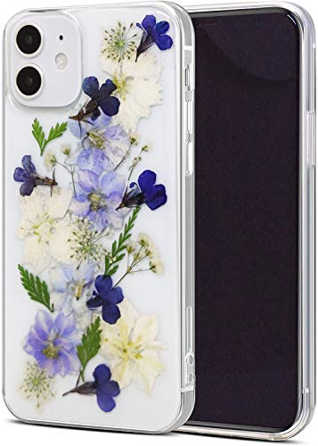 Abbery Designed for iPhone 12/iPhone 12 Pro Case, Clear Soft TPU Flexible Rubber Pressed Dry Real Flowers Flroal Girl Woman Case for iPhone 12/12 Pro (6.1') 5G 2020 Flower Cases (Navy Flower)