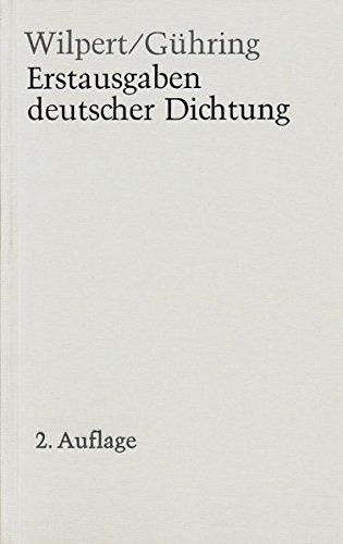 Erstausgaben deutscher Dichtung. Eine Bibliographie zur deutschen Literatur 1600-1960