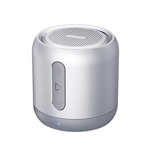 Anker SoundCore Mini Bluetooth Lautsprecher, Kompakter Lautsprecher mit 15 Stunden Spielzeit, 20 Meter Bluetooth Reichweite, FM Radio und intensiver Bass(Silber) (Generalüberholt)