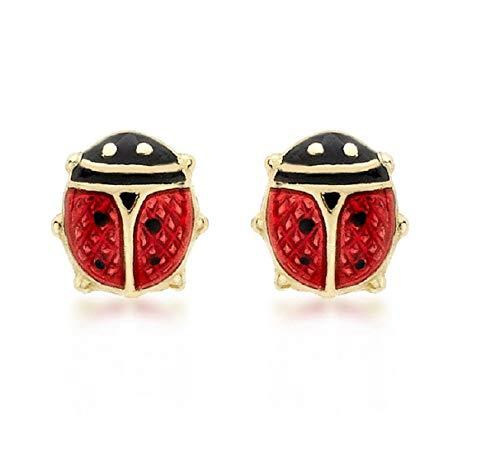 Carissima Gold Damen-Ohrstecker 18ct Enamel Ladybird Stud Earrings 750 Gelbgold - 7.55.3442