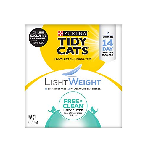 Purina Tidy Cats Light Weight, Low Dust, Clumping Cat Litter, LightWeight Free & Clean Unscented, Multi Cat Litter - 17 lb. Box