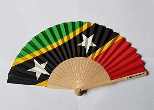 Fans Of Our Nation St. Kitts & Nevis Flagge Stoff Falten Hand Fan mit Bambus Handgriff