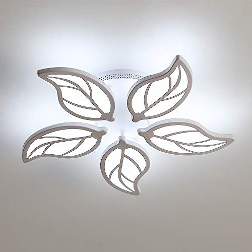 DAXGD Lámpara moderna de LED, 60 W, plafón de LED acrílico blanco que deja luz artística para dormitorio, comedor, 6500 K, luz blanca fría