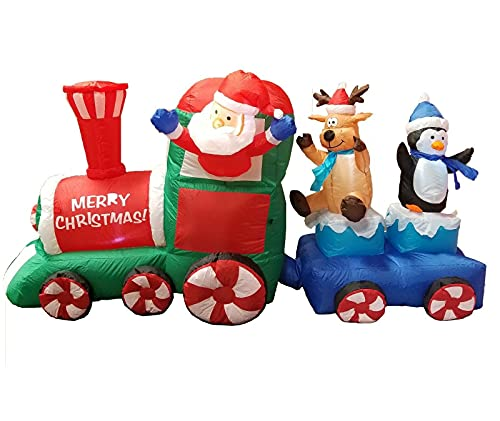7 Foot Long Lighted Christmas Inflatable Santa Claus Reindeer Penguin on Train Lighted LED Lights Blowup Indoor Outdoor Garden Yard Party Photo Prop Home Decoration